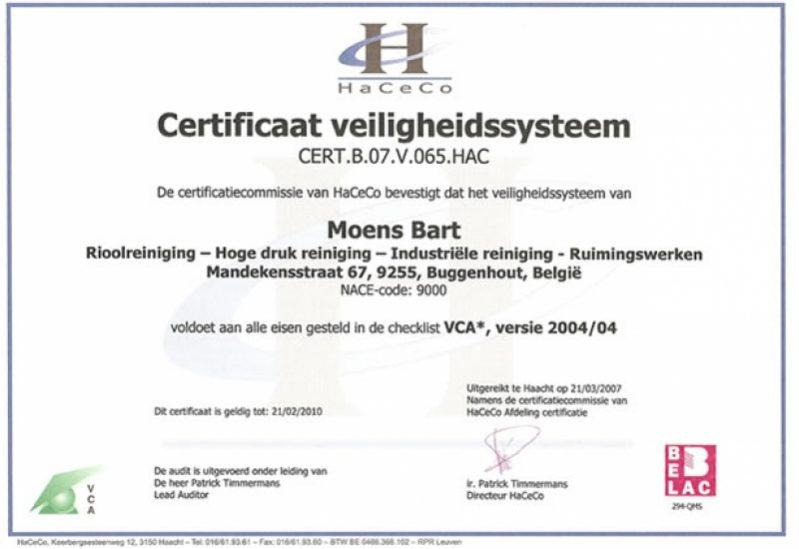 VCA Certificaat veiligheidssysteem